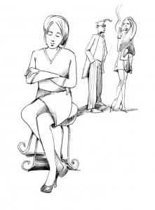Lukket kvinde viser med sit kropssprog at hendes grænser kan være overtrådt